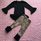Baby Girls Boutique Black Icing Top w Leopard Print Icing Pants 2pc Set Outfit