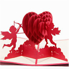 3D Pop Up Greeting Cards Cupids Red Heart Valentines Day Love Gift Handmade New