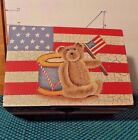 Wooden Box, Flag Theme, Brown Teddy Bear, Drum, Flag, By Trippies Inc.