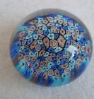 Vintage Art Glass Close Packed Millefiori Blue and Multicolor Paperweight Maker?