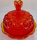 Stars Amberina Glass Covered Butter Cheese Dish Plate