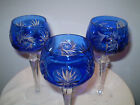 Trio of Cobalt Blue Cut Crystal Wine/ Cordial Glasses ~ A Perfect Pair Plus One