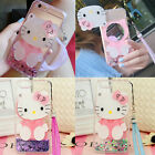 Cute Hello Kitty Mirror Bling Liquid Dynamic Love Giltter Strap Phone Case Cover