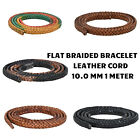 Flat Braided Leather Cord 10mm 1 meter