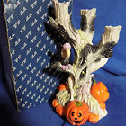 FITZ AND FLOYD HALLOWEEN HARVEST GHOST / VULTURE CANDELABRA / CANDLEHOLDER - MIB