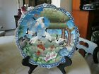RARE MEIJI PERIOD JAPANESE CLOISONNE CHARGER 5 CRANES FOLIAGE, TREES A MUST VIEW