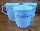 Set of 3 Corning GRAY RIBBON BOUQUET Mugs Coffee Cups - Replacement Gray Flowers