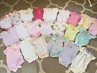 Lot of 22 Baby Girl Onesies Sleepers Infant Bodysuits Size 3 Months