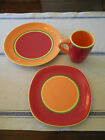 Dansk Caribe Aruba Orange Dinner Plate Salad Plate Mug