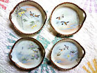 4 Antique Kutani Japanese Porcelain Plates with Birds Copper Gilded Hand Painted