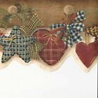 Country Folk Art Fabric Hearts Stars  Bows Pegs ONLY9 Wallpaper Border A404