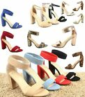 Womens Cute Open Toe Ankle Strap Chunky Heels Sandals Shoes Size 55 11 NEW