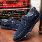 Men Casual boat Canvas Shoes Flat Loafer Lace Up Fashion Low Top Board Sneakers