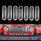 7 x Chrome Front Insert Mesh Grilles Cover Trim Key For 07 17Jeep JK Wrangler