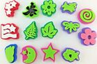 Chunky Foam Stamps Lot of 14 Various Shapes Simply Plaid Star Flower Fern Flag