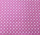 Fabric 21 X 43 Wide Buttons Pink White 3135 Cotton Flannel