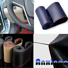 Car Auto DIY 38cm Real Leather Car Steering Wheel Cover With Needles and Threads