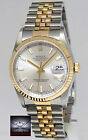 Rolex Datejust 18k Yellow Gold/Steel Silver Dial Mens Watch Box/Papers 16233