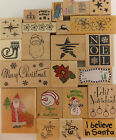 Christmas Holiday Rubber Stamp Wood Mount Winter Snow U PICK