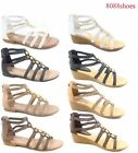 Womens Summer Low Wedge Flat Heel Ankle Strap Open Toe Sandal Shoes Size 5 10
