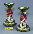 Pair Fitz & Floyd Florentine Fruit Candle Holders Apples Grapes Blue FREE SHIP