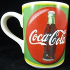 Vintage Gibson 1998 Coca Cola Mug Cup Vibrant Green Yellow & Red Design