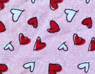 1 Yard 100 Cotton Flannel Fabric Bright Colors Hearts on Pink 45 Wide