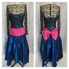 80s Vintage Beaded PROM DRESS DESIGNER Carol Mignon GOWN 1980s Big Large Bow S