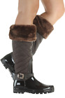 QUILTED TALL RAINBOOT WOMEN CARRIE 66 07 FOREVER FOOTWEAR BROWN