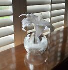 Clear Art Glass Oil Lamp, Bud Vase, Paperweight Hand Made in Poland