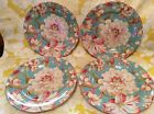 222 Fifth Salad Plates ~ 4 Marley Teal Fine China Plates