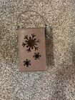 Grungy Primitive Tin Candle Holder Christmas Snowflakes