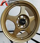 15X65 +40 SLIPSTREAM 4X100 GOLD RIM Fits Toyota Yaris Mr2 Celica Corolla Tercel