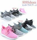 Youth Girls Kids Lace Slip On Flat Sneakers Casual Sport Shoes Size 9 4 NEW