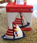 Fitz & Floyd Nautical Flags Seaboard Classics Sailboat 3 pc Salt &Pepper Set NEW