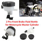 Motorcycle Front Brake Fluid Cup Master Cylinder Oil Reservoir Container 2Pcs