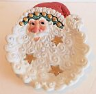 New Fitz and Floyd Essentials Snow Business Canape Cookie Plate Santa Face