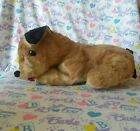 Vintage 1950s 60s Brown White and Black Puppy Dog 10 Stuffed Animal Plush