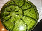 VTG INDIANA GLASS OLIVE GREEN DEVILED EGG RELISH PLATTER DIVIDED DISH PLATE 12