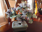 Vintage Asian Chinese Oriental Bonsai Tree Flowers Lavender and White