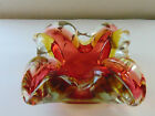 Vintage Heavy Red Yellow Gold Clear Murano Art Glass Bowl