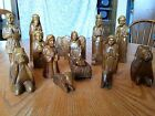 ANTIQUE HAND CARVED WOOD NATIVITY SET 16 PIECES UNIQUE BREATHTAKING