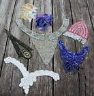 6 VTG BEADED SEQUINNED LG SEWING APPLIQUES FOR COSTUMES DRESSES CRAFTS