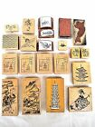 Lot 21 Asian Japanese Chinese Wooden Rubber Stamps for Crafts Scrapbooking