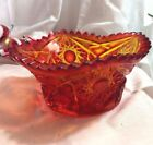 Amberina Daisy and Button Saw Tooth Rim Candy Bowl