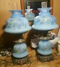 2x RARE VINTAGE PAIR 1973 BLUE QUOIZEL HURRICANE LAMP ANTIQUE GONE WITH THE WIND