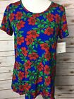 NWT LuLaRoe Classic Tee Size Small Bright Blue With Red Floral Print