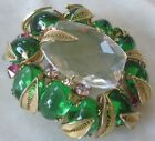 SCHREINER Large Beautiful Glass Stones  filigree Pin Brooch