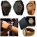 Bamboo Wood Watch Natural Wristwatch Leather band Casual Men or Women Gift L8