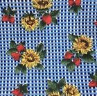 Fabric 28 By 62 Check Sunflower Strawberry Blue White Yellow Red 2544